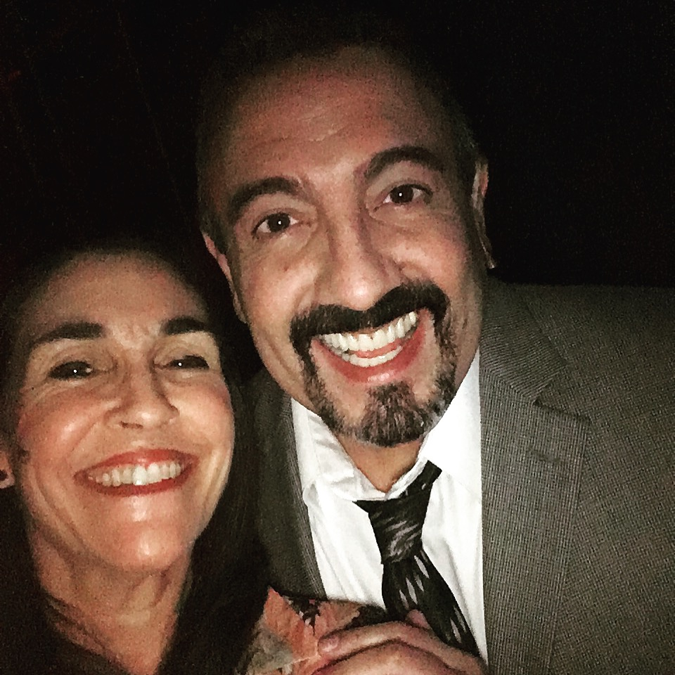"With my husband on stage, ""Kevin Rosario"", actor Luis Negrón"