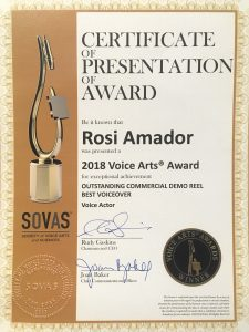 Rosi Amador wins 2018 SOVAS award for outstanding commercial voiceover demo